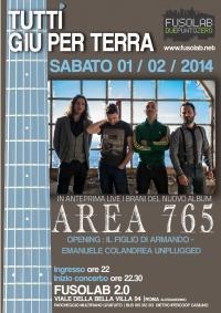"""""""Tutti giù per terra"""": Area 765 in concerto + Il figlio di Armando"""
