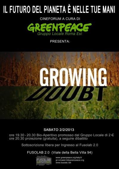 Proiezione  Growing doubt di Greenpeace