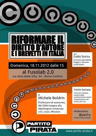 RIFORMARE IL DIRITTO D'AUTORE E I BREVETTI IN ITALIA - 18 Novembre