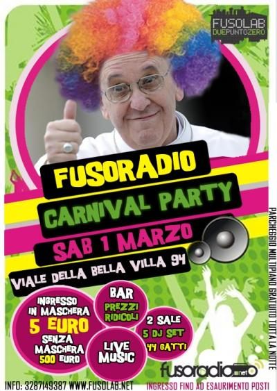 Fusoradio Carnival Party - Sabato 1 Marzo - Il party dei parrucconi